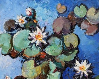 """White water lilies Original oil painting 23.6"""" x 35.4"""" Contemporary, Fine art by Valiulina"""