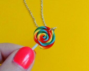 Rainbow Swirl Lollipop Pendant Necklace - Handmade Polymer Clay Mini Food Dessert Candy Jewelry