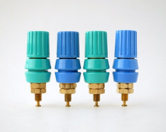 two pairs of heavy duty binding  posts - wild colors - turquoise & blue - gold plated hardware - very high quality