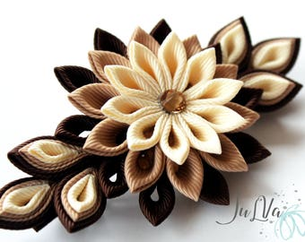Kanzashi fabric flower french barrette. Shades of brown.Brown flower barrette.Brown kanzashi hair clip.