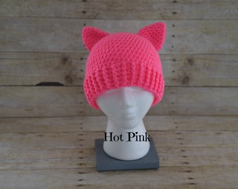 Pussy Hat - Pink Pussy Hat - Pussy Hat Project - Kitty Hat - Pussy Cat Hat - Support Women's Rights - Production time is 1-2 weeks