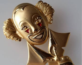 Gold Tone Clown Brooch