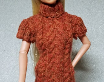 Knitted Tunic with a Kangaroo Pocket for Barbie and similar dolls