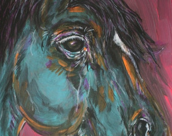 Colorful Quarter Horse Painting . Stretched Canvas . Equine Art . Cowboy & Cowgirl Gifts