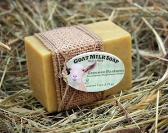 Greener Pastures Goat Milk Soap. Peppermint Goat Milk Soap. Eucalyptus Goat Milk Soap. Peppermint Soap. Green Soap. Gift Under 10.