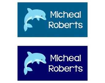 80 Large Personalized Waterproof Baby Bottle Labels Waterproof Stickers  Dishwasher Safe Daycare Label School Labels - Boy Dolphins