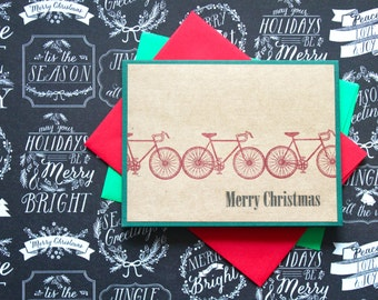 Bicycle Christmas Card, Christmas Card Set, Handmade Bicycle Card, Merry Christmas Bicycles, Cards for Cyclists, Bicycle Holiday Cards