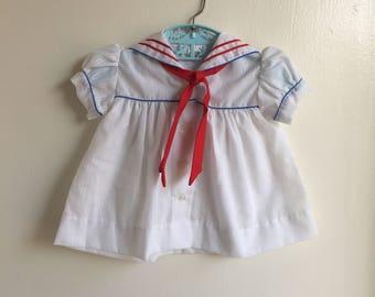 VTG Baby Girl Sailor Dress Red White Blue Sz 0-6M