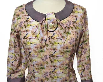 Vintage style 3/4 length sleeve patterned blouse