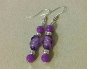 Artisan Handmade Purple Twist Bead Silver Accent Dangle Style Beaded Earrings Jewelry Gift Fashion Accessory Unique
