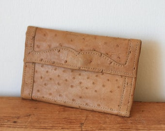 Tan Ostrich Leather Wallet/ Ostrich Leather Billfold/ Vintage Ostrich Wallet Checkbook Cover 080415