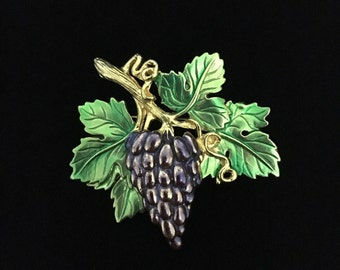 Vintage Signed JJ Brass Pewter Bunch of Grapes Brooch/Pin (Tier 2)