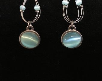 Vintage Aqua Blue Fiber-Optic Pierced Dangle Earrings   (ABX1E)