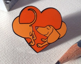 Hound of love pin, Dachshund pin, lapel pin