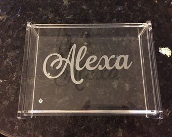 monogrammed acrylic box with hinged lid