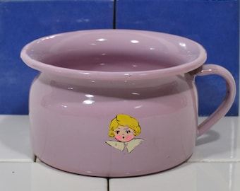 Lavender Enamelware Childs Potty, Pastel Purple Graniteware Chamber Pot, Lilac Enameled Metal Potty Bowl, Young Child w Blonde Hair Decal
