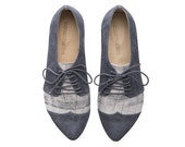 Grey oxford shoes, Polly Jean, handmade, flats, leather shoes, by Tamar Shalem on etsy