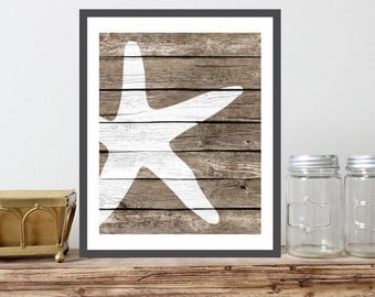 Starfish Art Print - Rustic Nautical Wall decor, Sea Life art, Beach Wall Art Decor, Ocean Nursery, Nautical Bathroom, Coastal Living Decor