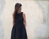 SALE - Black Midi Dress, Little Black Dress, Black Bridesmaid Dress, Party Dress, Cotton Dress, Sleeveless Dress, Flare Dress, Japanese S...