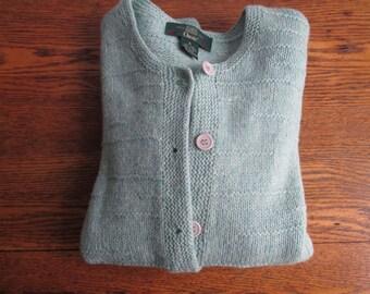 Vintage Women's Orvis Seafoam Green Wool Cardigan