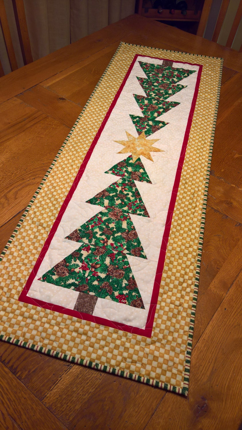 Christmas trees quilted table runner