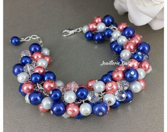 Coral and Royal Blue Bracelet Pearl Jewelry Bridesmaid Gift for Her Cluster Bracelet Coral Bracelet Coral Wedding Royal Blue Jewelry