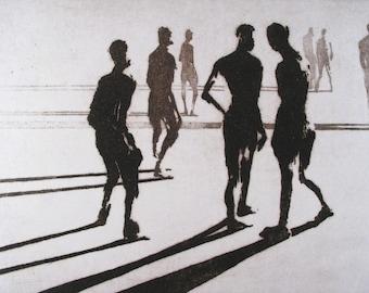 "Haunting Figure Intaglio Print, ""Paths No. 4"""