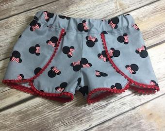 Disney Shorts, Minnie Shorts, Pom Pom Trim, Toddler Shorts