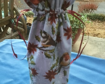 Wine Bottle holder or Cotton gift bag with Christmas Bird fabric.