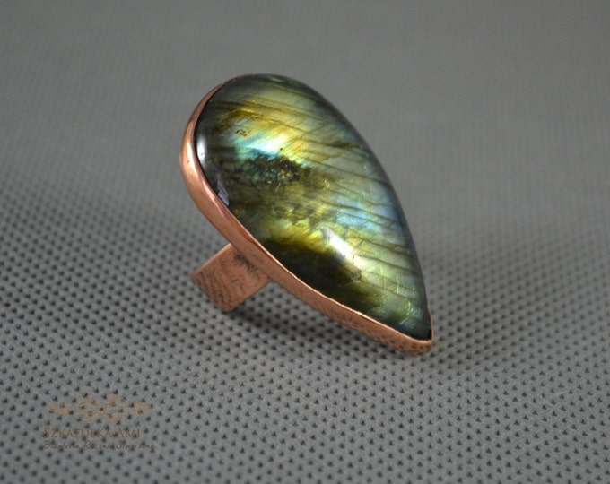 Large Ring Copper Labradorite Stone Boho Unique Rings Statement Rings Copper Sheet Embossed Not Heavy Blue Green Universal Ring valentine