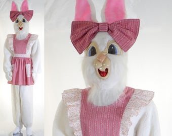 Adult Women's Mother Easter Bunny - 6 Piece Costume - Head, Suit, Gloves, Shoe Covers, Apron & Bow -  White Rabbit - Size 12