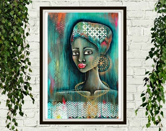 UZURI- swahili, beauty, african art, african woman, portrait, painting