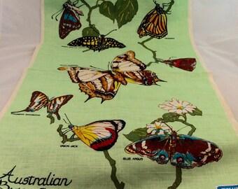 Vintage Linen Australian Butterflies Tea Towel/Linen Butterfly Kitchen Towel