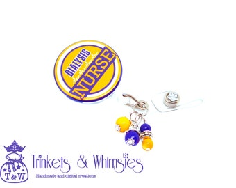 Dialysis Nurse Lakers Fan Colors with Beads Retractable Badge Holder