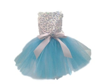 Dog Dress, Dog Clothing, Dog Wedding Dress, Pet Clothing, Silver Sequins with Blue Tutu