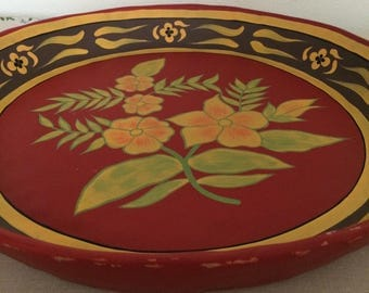 Hand painted pottery dish/large bowl/centre piece