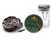 Giraffe Weed Grinder with 1 FREE Glass Jars, 4 Piece Herb Grinder, Black Zinc, Safari Animal Herb Grinder with Marijuana Leaf Design09