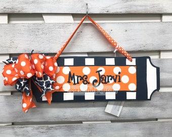 Teacher Gift: Personalized Teacher Name Sign, Classroom Decoration, Teacher Gift, End of Year Gift, Office Decor Navy Blue/Orange