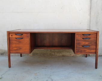SOLD - Walnut Executive Desk by Jens Risom Mid Century Modern Vintage Dark Wood Danish Scandinavian Modern