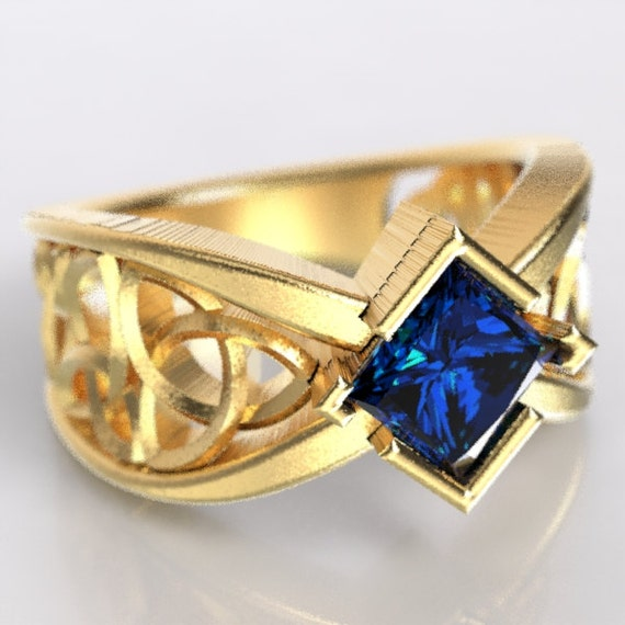 Gold Celtic Wedding Ring With Square Princess Cut Blue Sapphire Trinity Knotwork Design 10K 14K 18K or Palladium, Made in Your Size Cr-1025