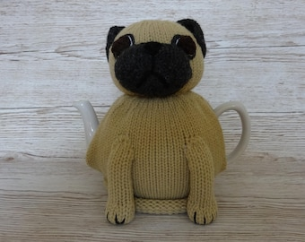 Knitted Tea Cosy Cozy Cute Pug, Light Brown and Dark Grey, Gray Shabby Chic