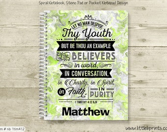 1 Timothy 4:12 Scripture Verse Youth Green Personalized Spiral Notebook Journal Prayer Journal Diary
