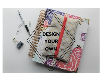 Made to Order Pencil Pouch - Bullet Journal Accessories - Planner Case - Personalized Pencil Bag - Pencil Case with Elastic Strap