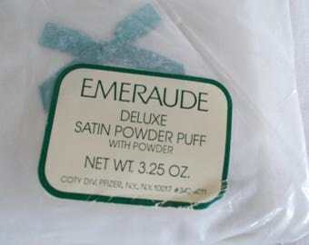 Vintage Emeraude Deluxe Satin Powder Puff With Powder