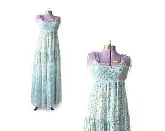 Boho dress, 70s maxi dress, green dress, cotton dress, sun dress, long dress, vintage clothing, vintage dress, sun dress, sundress