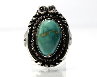 Vintage Turquoise Ring Size 7.5 With A Bezel Set Cabochon In Sterling Silver, Southwestern Native American Navajo Jewelry Style