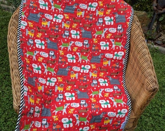 Red quilted dog blanket to pamper your pet - features a variety of dogs, pet blanket, pet quilt, dog mat, crate liner dog lover gift