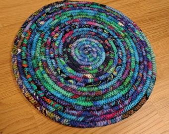 Coiled trivet, Snack mat, Mouse pad,  Fabric trivet, Medium Coil mat, Coiled Rope table mat, Turquoise, blue and green Kaffe Fasset fabrics