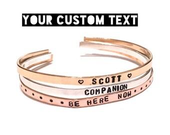 Custom Hand stamped bracelet. Custom cuff bracelet. Personalized Bracelet. Handstamped Jewelry. Gift for her.