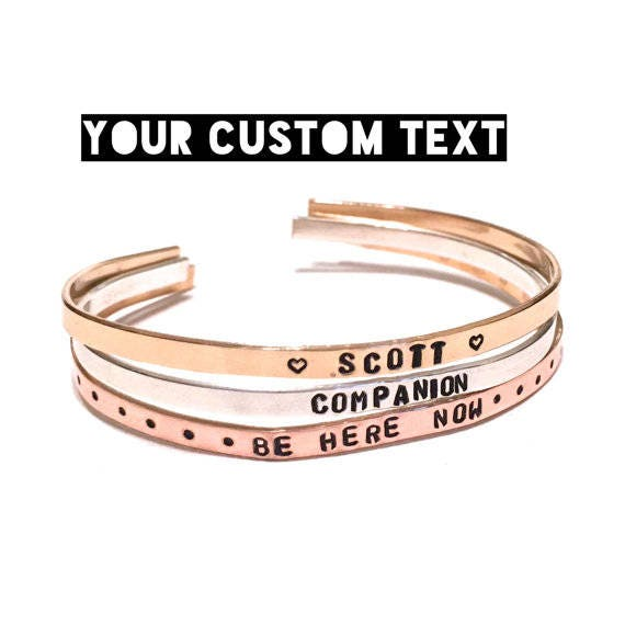Custom Hand stamped bracelet. Custom Bracelet. Custom cuff bracelet. Personalized Bracelet. Handstamped Jewelry. Gift for her. Medical ID.